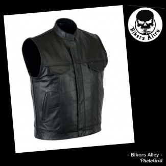 Soft Leather Vest With Collar
