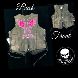 Ladies Embroidered Purple Design Leather Vest