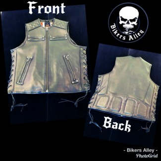 Men's Leather Vest With Lace