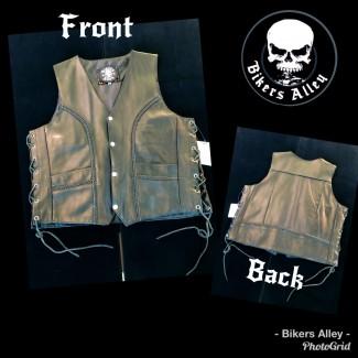 Men's Leather Vest Braided/Laces