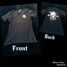 Ladies Black Bikers Alley Black V Neck T Shirt