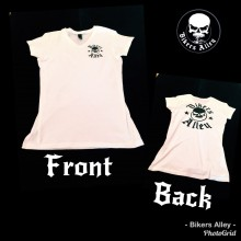 Ladies White Bikers Alley V Neck Shirt